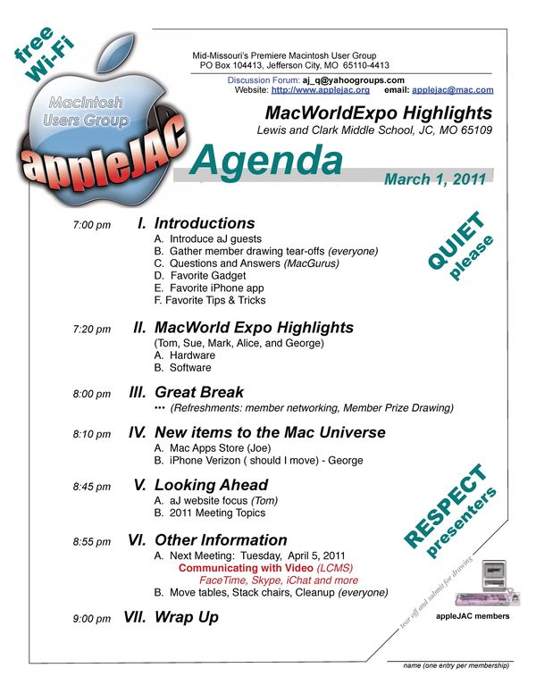 March Meeting Agenda
