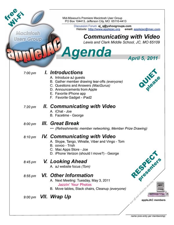 April Meeting Agenda