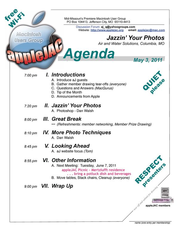 May Meeting Agenda