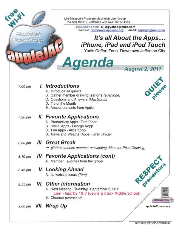 August Meeting Agenda