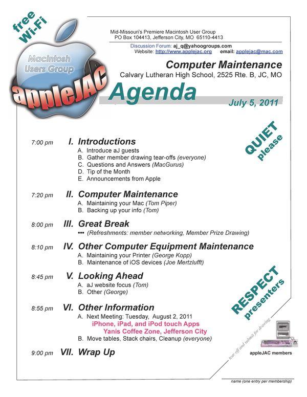 July Meeting Agenda