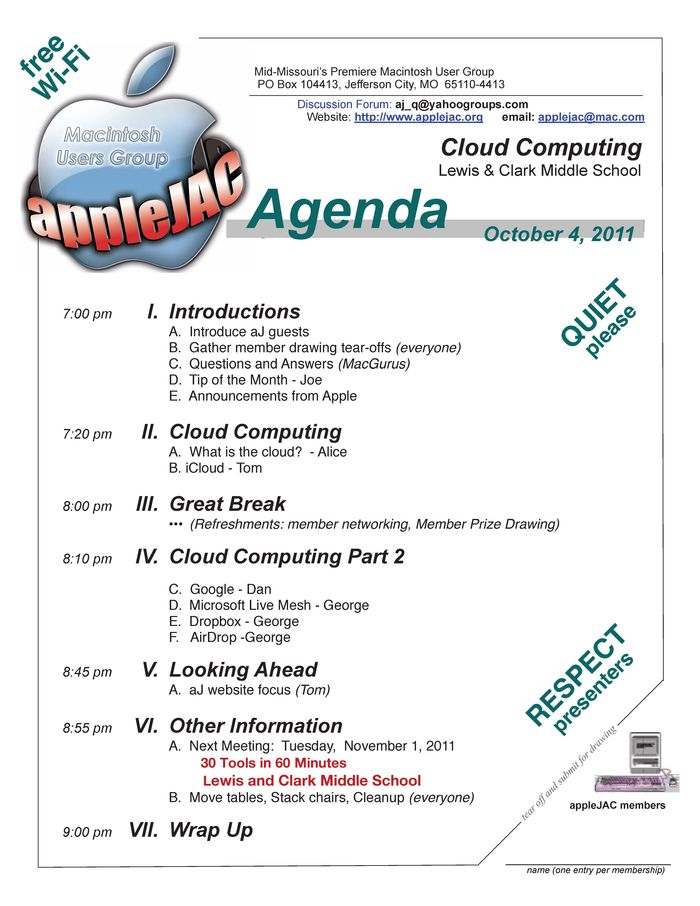 October Meeting Agenda