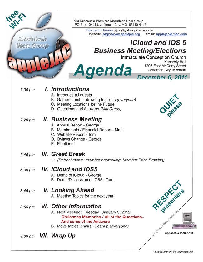 December Meeting Agenda