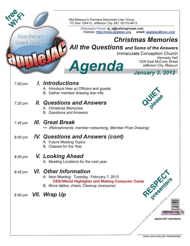 January 2012 Meeting Agenda