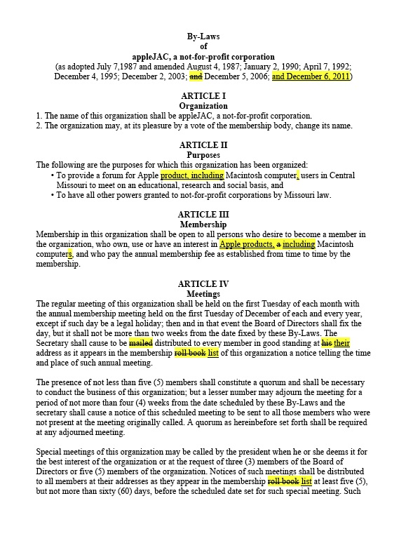 Amendment to bylaws template for Pta bylaws template