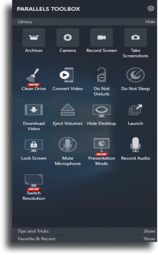 Parallels dark menu